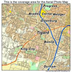 aerial photography map of tigard or oregon