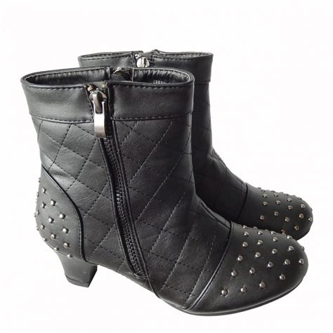 black high low heel ankle zip studded school