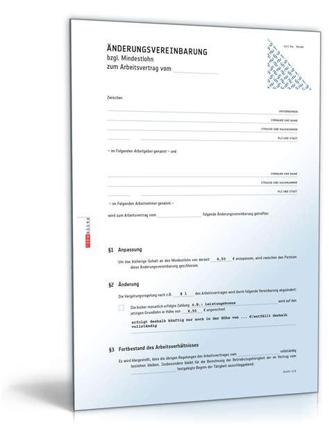 Vorlage Schenkungsvertrag Schweiz 196 Nderungsvereinbarung Mindestlohn