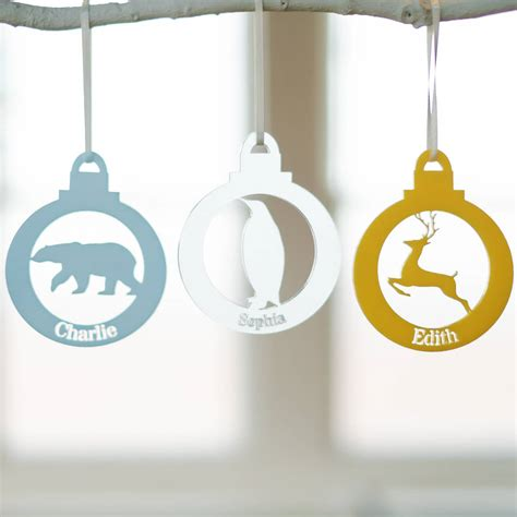 baubles with names animal personalised name bauble by clouds and currents