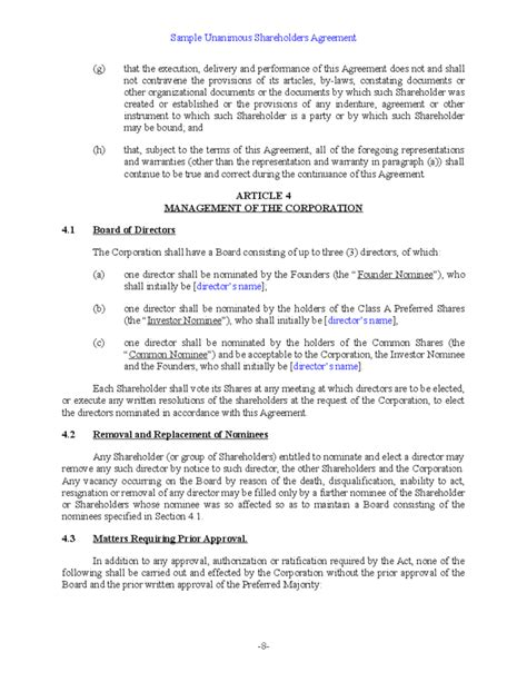 Sle Unanimous Shareholder Agreement Free Download S Corporation Shareholders Agreement Template