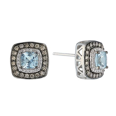 le vian 14ct vanilla gold aquamarine earrings