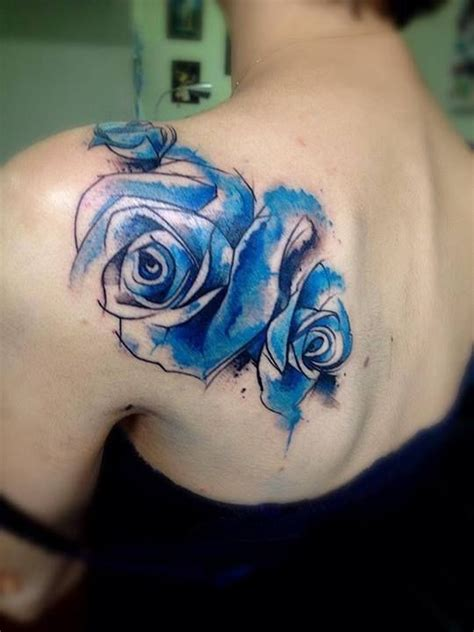 blue and red rose tattoo watercolor blue roses on shoulder by victor