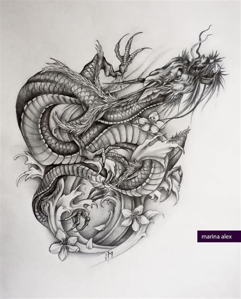 asian dragon tattoo sketch by marinaalex on deviantart
