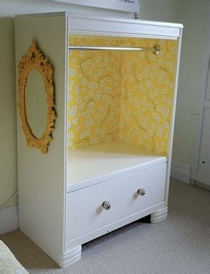 recycle dresser into kids dress up clothes storage hanging bar wallpaper inside and a mirror