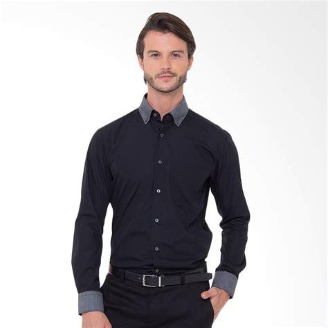 Kemeja Alisan Hitam jual alisan 3035sfkpc 10114 kombinasi kemeja panjang pria hitam harga kualitas