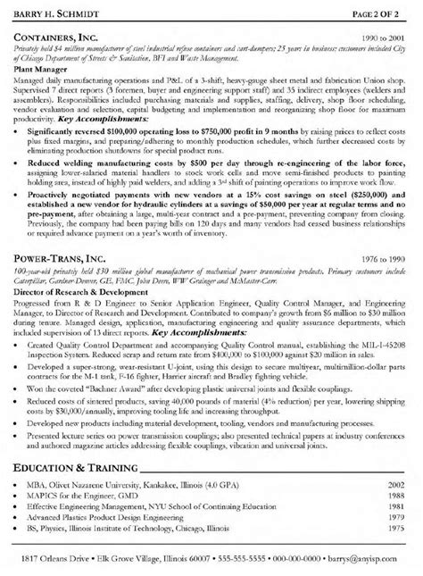 career objective for production engineer resume sles manufacturing engineer south florida