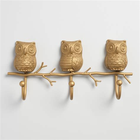 Owl Gold gold metal owl 3 hook wall storage world market