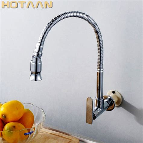 hotaan 1set 2018 new wall mounted chrome kitchen sink