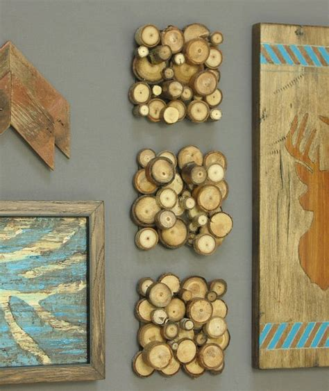 wood branches home decor modern rustic wood slice wall art set of three tree