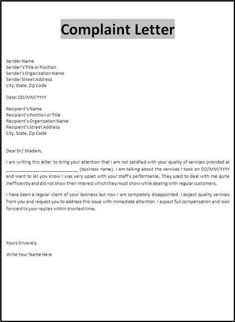 printable sample customer complaint response letter