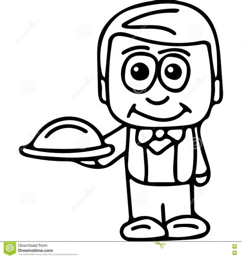 Waiter Kids Coloring Page Stock Illustration Image 78633590 Cheap Coloring Books L