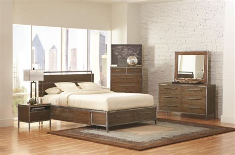 arcadia weathered acacia platform storage bedroom set from