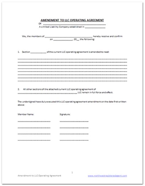operating agreement amendment template llc operating agreement amendment template