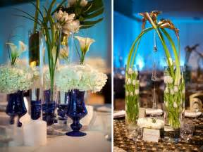 Blue Vases For Centerpieces Chic White And Blue Wedding Reception Centerpieces Using