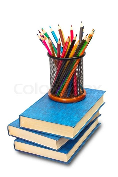 pictures of books and pencils books and pencils on white stock photo colourbox