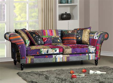 Patchwork Sofas Uk - new wave 3 seater luxury fabric patchwork sofa ebay