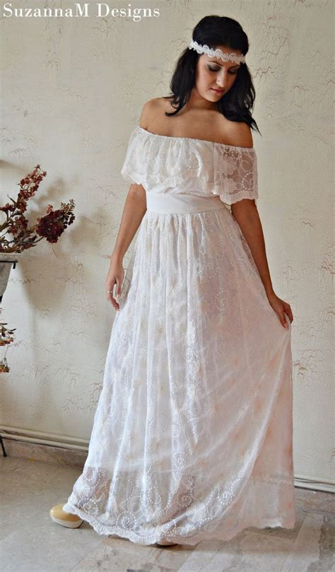 Ivory 100% Cotton Lace 70s Wedding Dress / Vintage Wedding