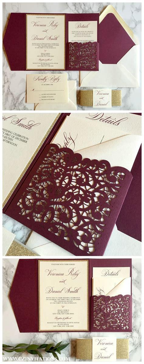 Burgundy and Gold Laser Cut Pocket Wedding Invitation in