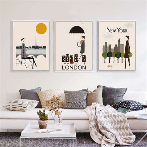 city home decor triptych modern london new york paris city travel a4 art
