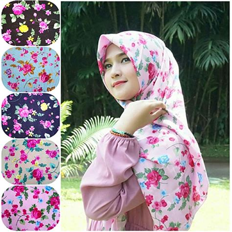 jilbab segi empat motif bunga shabby seri humairah 1