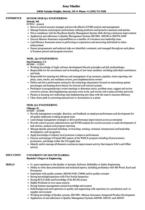 Sle Resume For Quality Engineer Position qa engineer sle resume athletic academic advisor cover