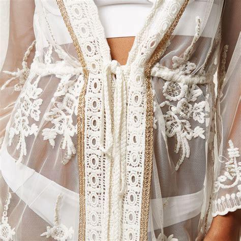 Kaftan Lace lyst river island white embellished lace cover up kaftan