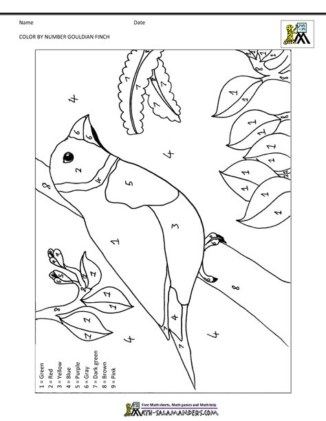 Coloring Work Sheets by Color By Number Sheets Bird Theme