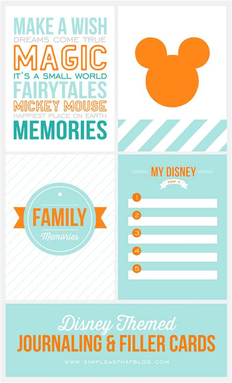 Disney Land Gift Card - disney themed journaling and filler cards free printables