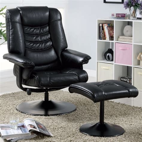black leather look metal swivel recliner with ottoman
