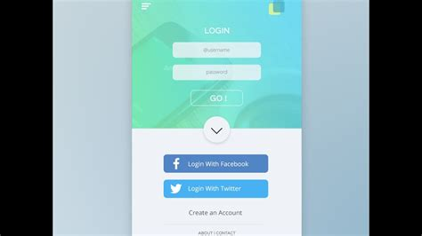 ui design tutorial in photoshop mobile app login page
