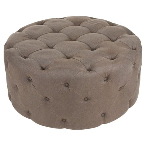 tuffed ottoman amalia french country brown linen button tufted ottoman