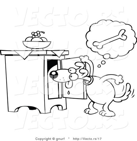 Dog Cabinet Vector Line Drawing Of A Hungry Cartoon Dog Searching For