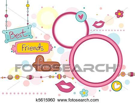 stock illustrations  bff frame  search clipart