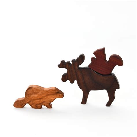 wooden canada wooden canadian animals set 6 toys adventure in a box