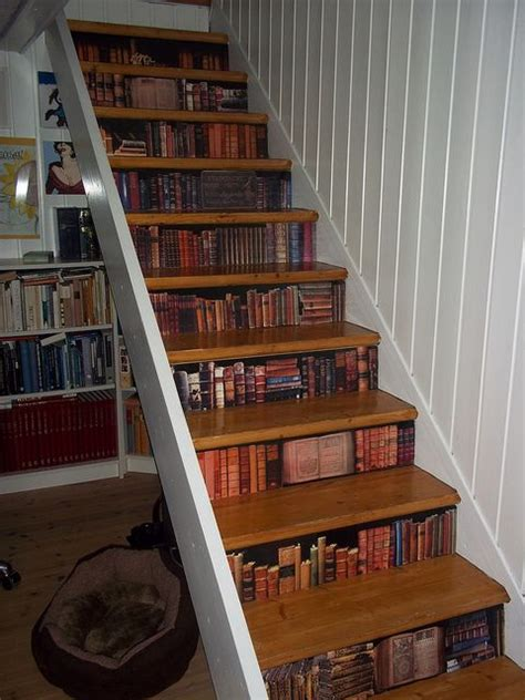 Decoupage Stairs - stairs with bookcase decoupaged to it wish i had a