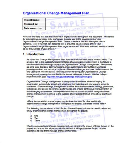 Change Management Plan Template 6 Free Word Pdf Change Management Template Free
