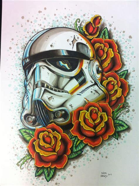 tattoo new school star storm trooper tattoo for the dark side of the star wars