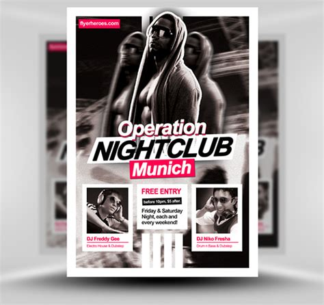 club flyers template operation nightclub free flyer template