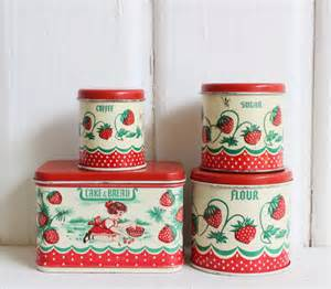 Tin Kitchen Canisters by Vintage Tin Toy Kitchen Canisters By Wolverine Set Of 4