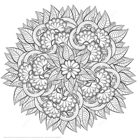 abstract pattern to color abstract flowers design zentangle coloring page art