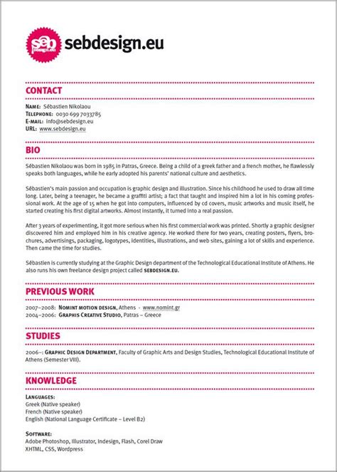 graphic design layout skills resume design ideas easy with a touch of personality