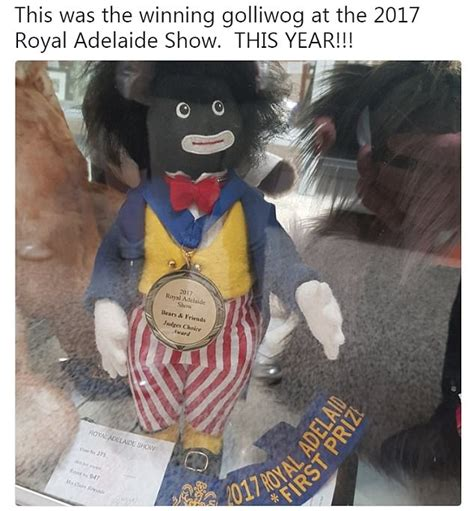 black doll shows 2017 golliwog given prize at royal adelaide show in 2017