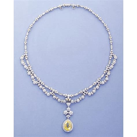 drape necklace antique 5 06 carat fancy yellow pear shaped diamond drape