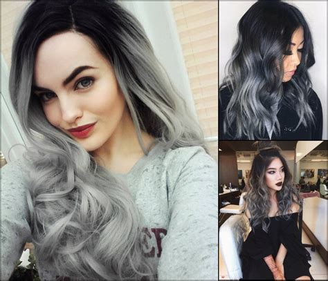 hair color gray magnifying ombre grey hair colors pretty hairstyles