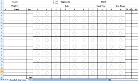 baseball score cards templates baseball scorecard excel template