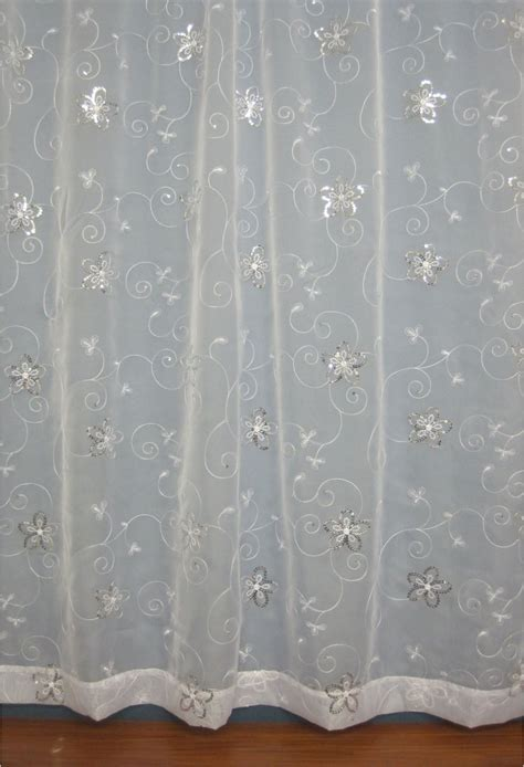 White And Silver Curtains Voile Panels Woodyatt Curtains