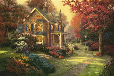imposing edwardian house with magnificent landscaped victorian autumn the thomas kinkade company