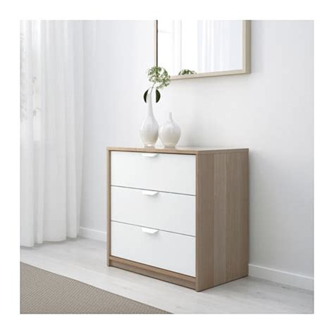 ikea askvoll askvoll chest of 3 drawers white stained oak effect white