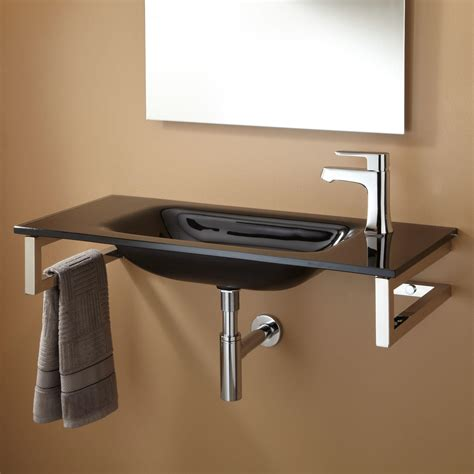 black wall mount sink lowry wall mount glass sink with mirror and shelf bathroom